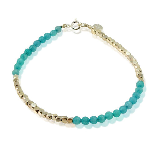 Blue Jade and Sterling Silver Bracelet