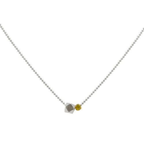 Box and Ball Sterling Silver Chain Necklace