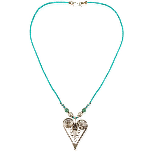 Turquoise and Braided Wire Heart Necklace