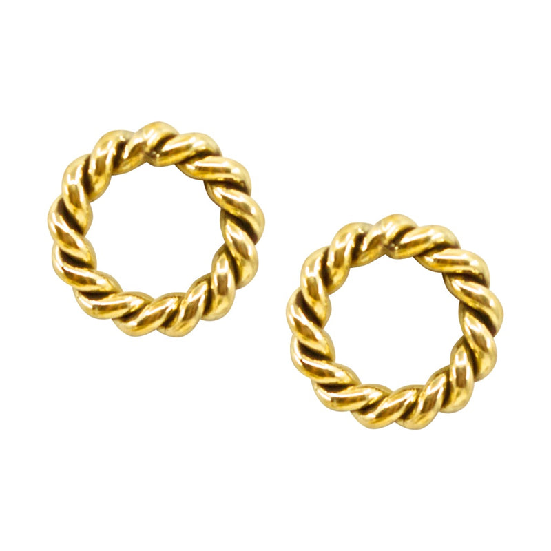 Brass Braid Circle Earrings