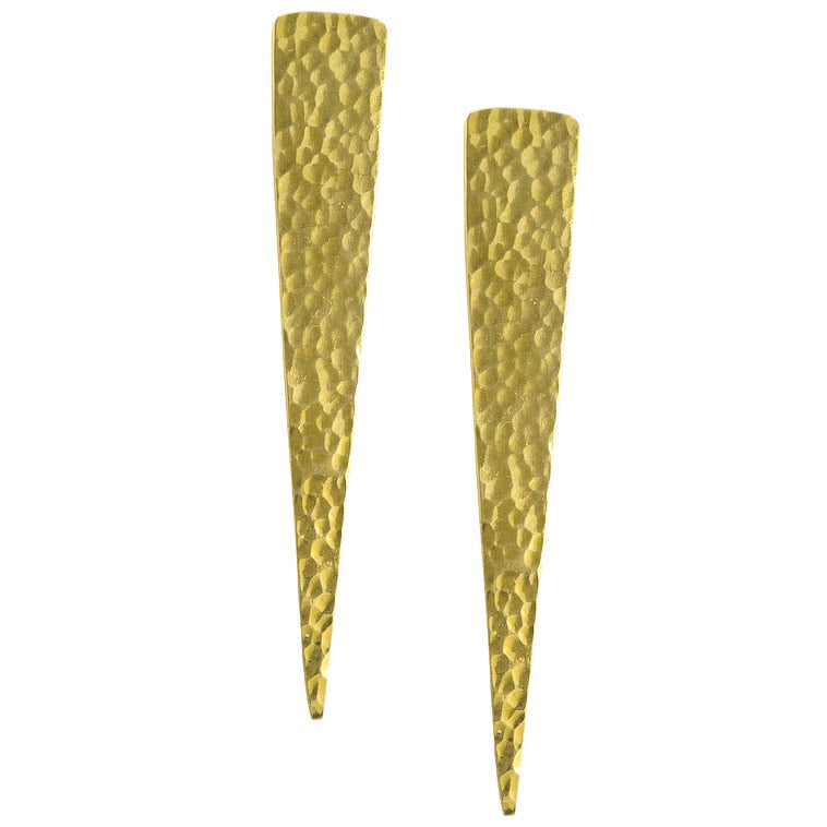 Long Vertex Brass Earrings