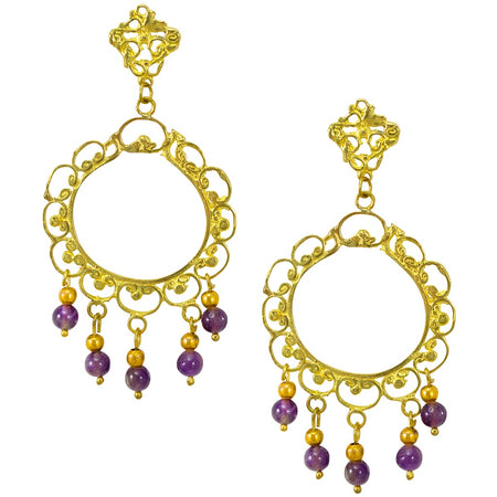 Dragon Queen Earrings in Gold Plated .925 Silver + Purple Zirconia - By Ana Moura