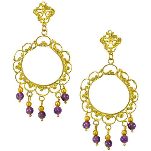 Pre-Columbian Inspired Brass and Amethyst Earrings