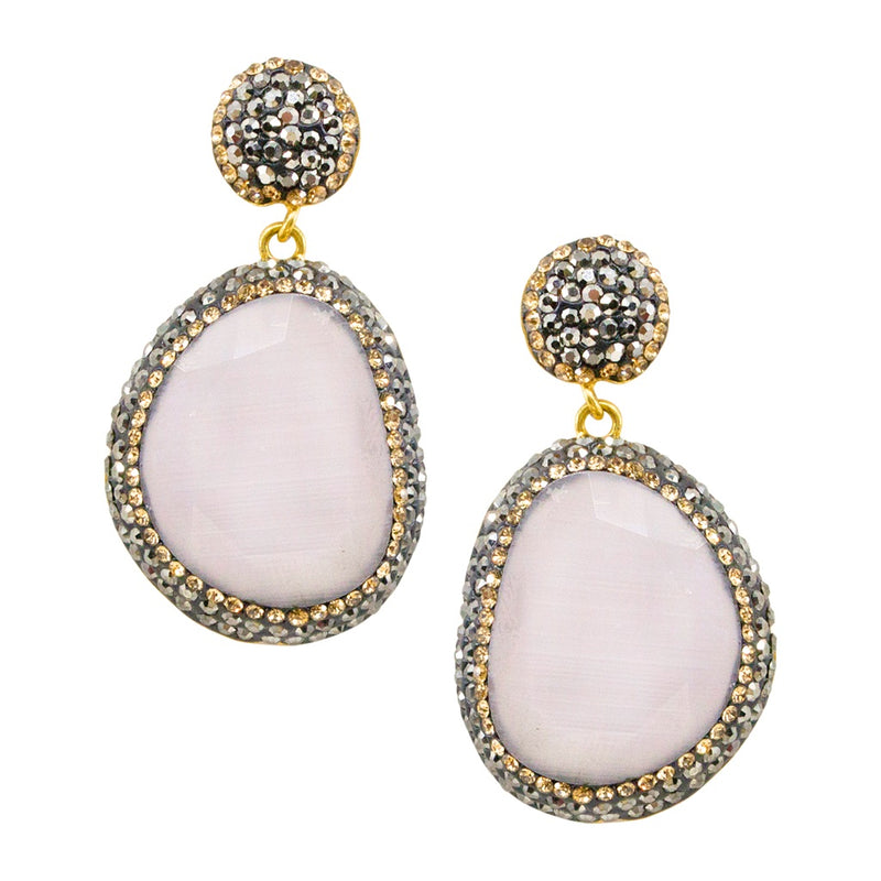 Cat's Eye Earrings - White