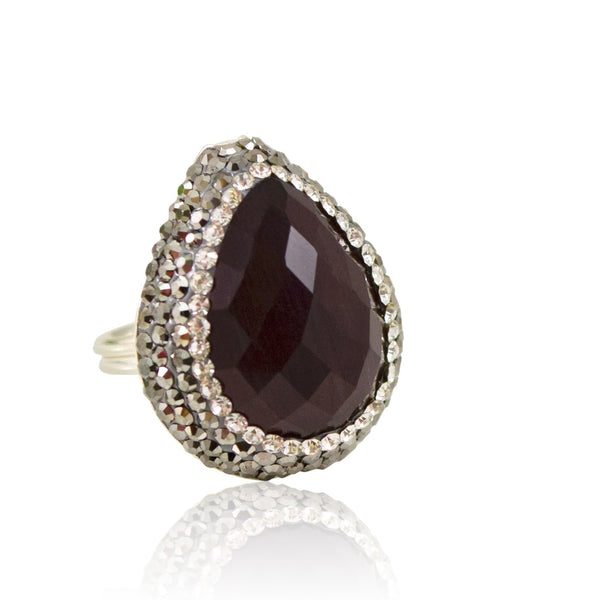 Deep Purple Cat's Eye Adjustable Ring