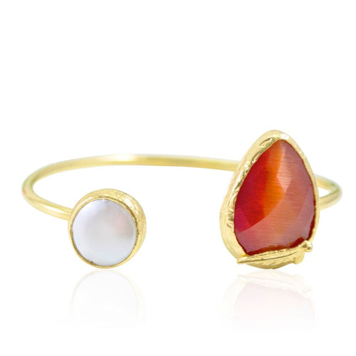 Orange Cat's Eye and Pearl Open Cuff