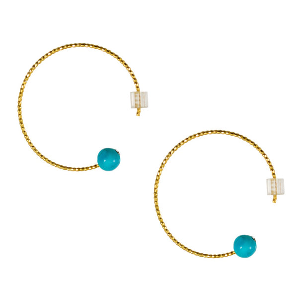 Open Turquoise Hoop Earrings by Cécile Boccara