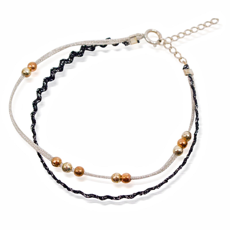 Double Silver and Bead Cord Bracelet by CLO&LOU - Black