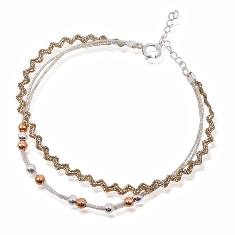 Double Silver and Bead Cord Bracelet by CLO&LOU - Silver