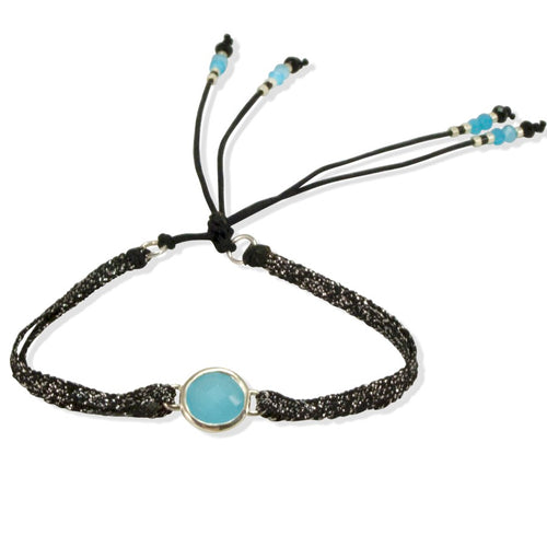 Blue Crystal and Sparkly Cord Bracelet by CLO&LOU
