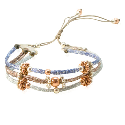 Multi-Colored Cord with Silver Bead Bracelet by CLO&LOU