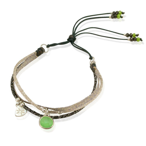 Sparkly Cord and Pendant Bracelet by CLO&LOU - Green