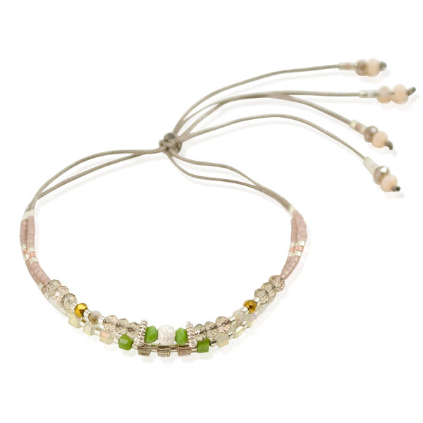 Silver, Bead and Crystal Cord Bracelet by CLO&LOU