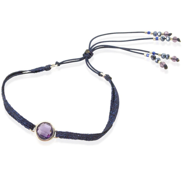Amethyst Crystal and Sparkly Cord Bracelet by CLO&LOU