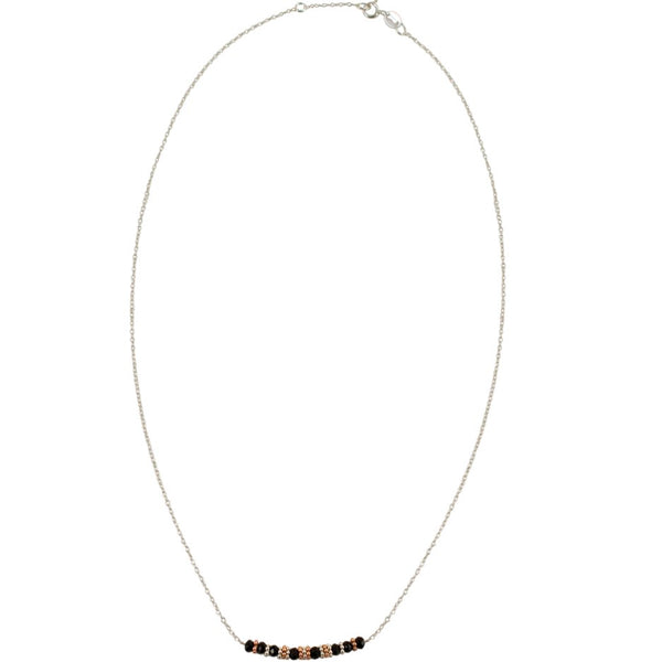 Onyx and Silver Bead Necklace by CLO&LOU