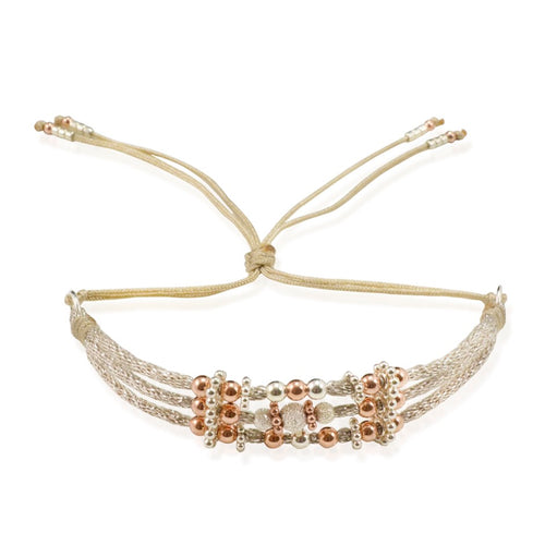 Sterling Silver Bead and Cord Bracelet by CLO&LOU