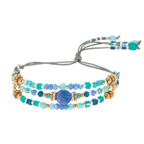 Multi-Color Beaded and Silver Bracelet by CLO&LOU