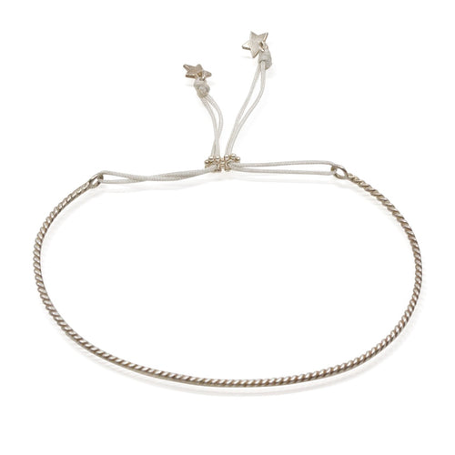 Daisy Silver Adjustable Bangle with Star Details by CLO&LOU