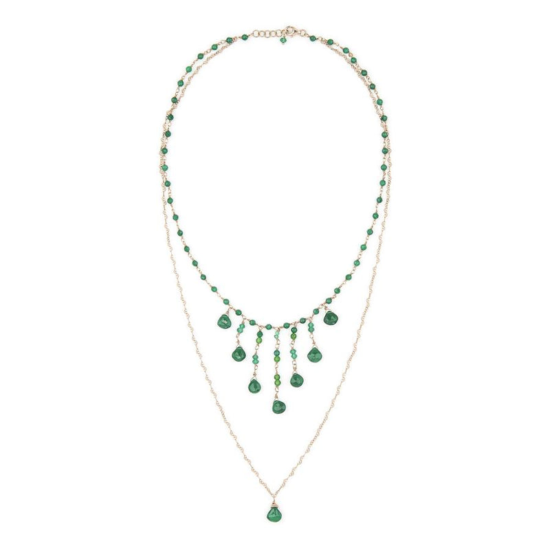 Queenly Double Strand Green Pendant Necklace