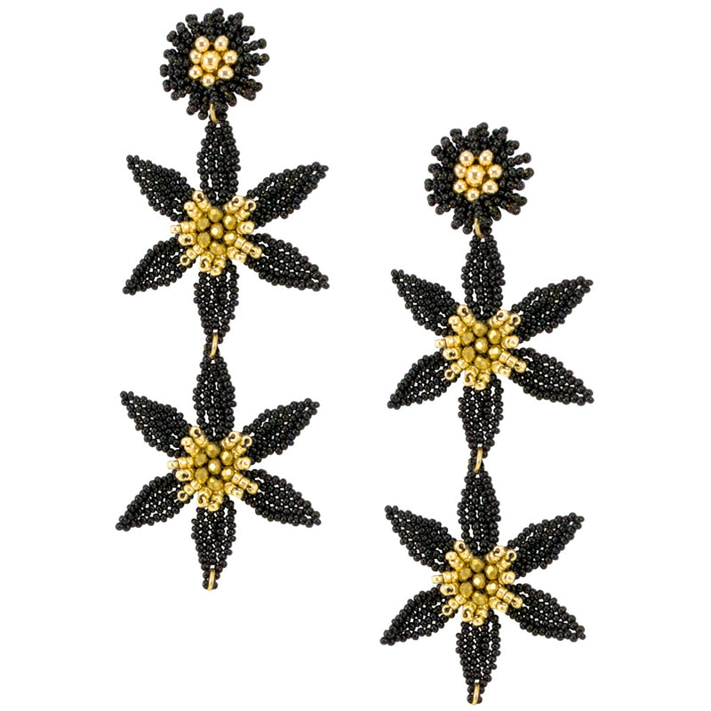 Black and Gold Hand Beaded Flower Chandelier Earrings