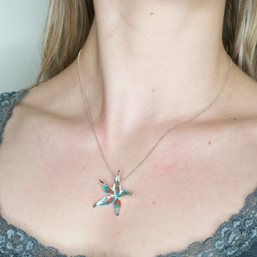 Hand Painted Abstract Flower Necklace