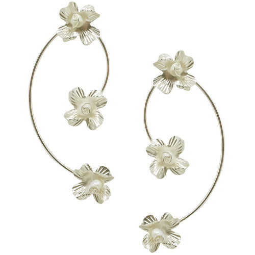 Flower Vine with Pearls Earrings