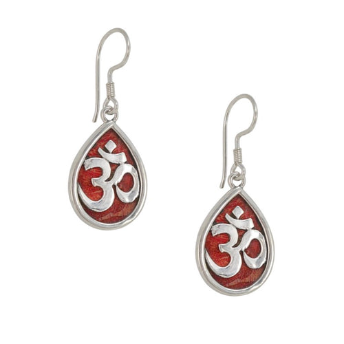 OM in Sanskrit Sterling Silver and Coral Drop Earrings