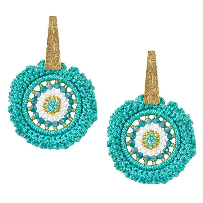 Hand Crocheted and Beaded Earrings - Baby Blue