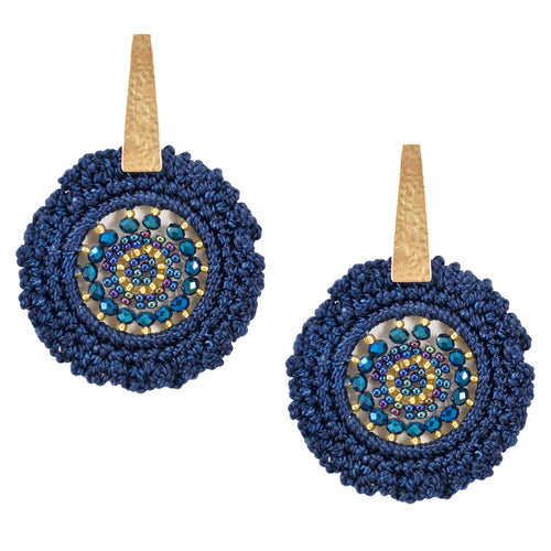 Hand Crocheted and Beaded Earrings - Navy Blue
