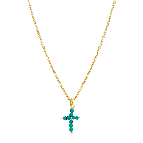Turquoise Cross Drop Necklace