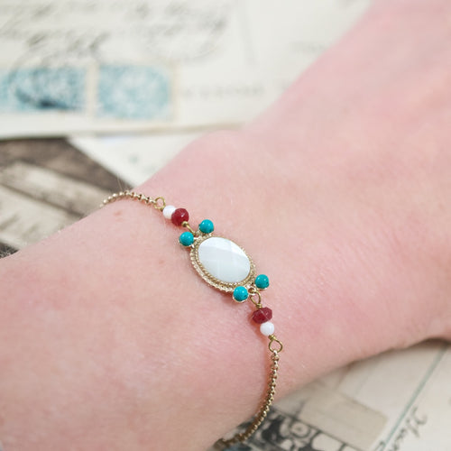 Delicate Mother of Pearl and Turquoise Bracelet by Satellite Paris