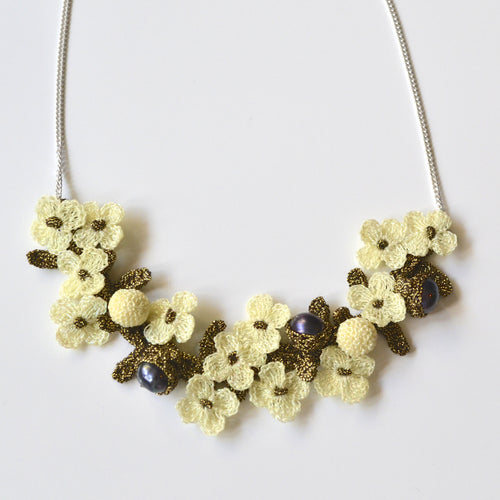 Elaborate Hand Crocheted Flower and Pearl Necklace - Ivory