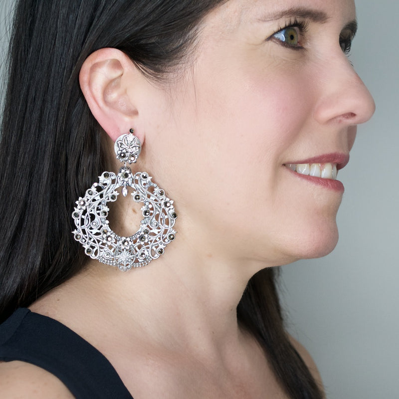Ornate Silvered Metal Circle Earrings by DUBLOS