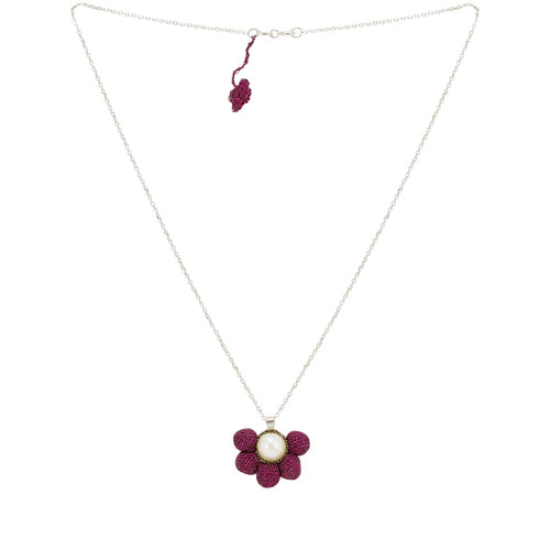 Crocheted Burgundy Pearl Drop Necklace by Atelier Godolé