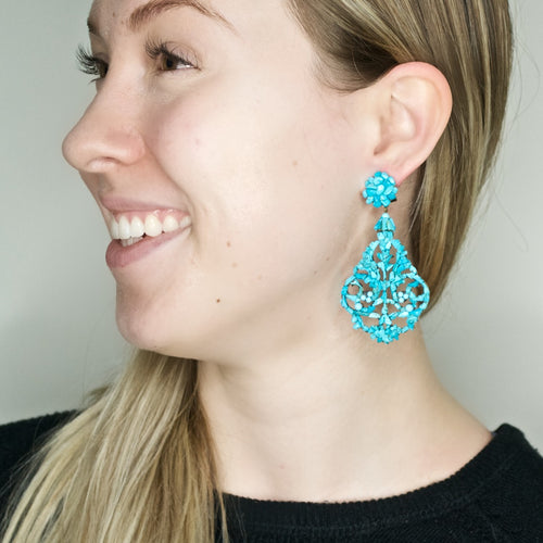 Trocitos Turquoise Pendant Earrings by DUBLOS