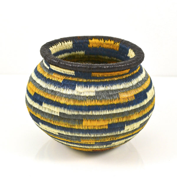 Wounaan Basket - Blue and Yellow Geometric Pattern