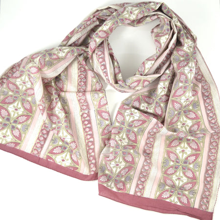 Hand Block Printed Scarf by Anokhi- Turquoise Bridal Wreath