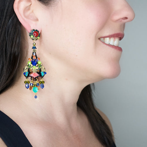 Stained Glass Colorful Drop Earrings by DUBLOS