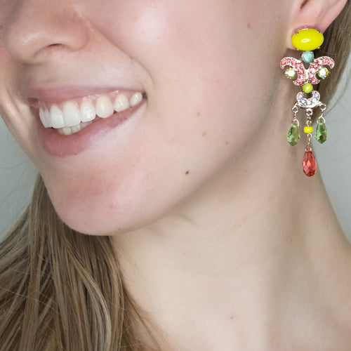 Colorful Crystal Post Earrings by AMARO