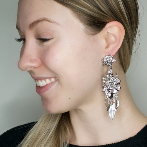 Silvered Metal Leaf and Flower Drop Earrings by DUBLOS