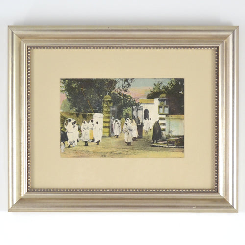 Custom Framed Vintage Postcard - Leaving Mosque
