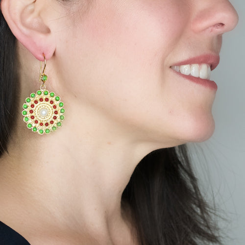 Artisan Green Jade and Coral Earrings