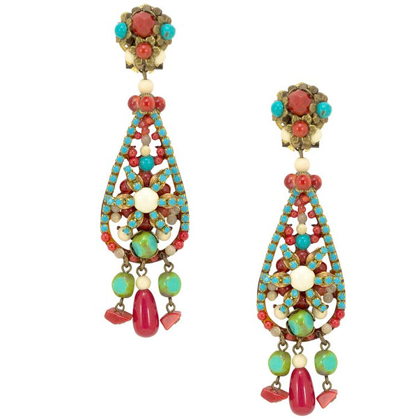 Turquoise and Coral Tear Drop Earrings by DUBLOS