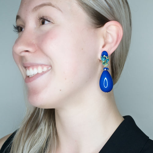 Navy Blue Tear Drop  Earrings with Hand Painted  Floral Detail by DUBLOS