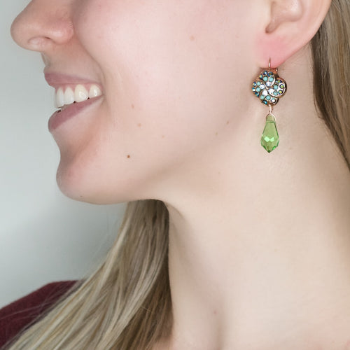Sparkling Green Crystal Drop Earrings by AMARO