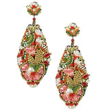 Colorful  Mother of Pearl Statement Pendant Earrings by DUBLOS