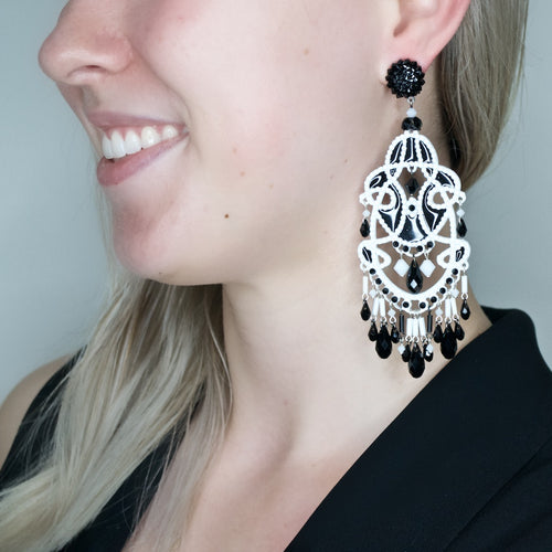 Stained Glass-like Art Deco-Inspired Chandelier Earrings by DUBLOS - Black and White