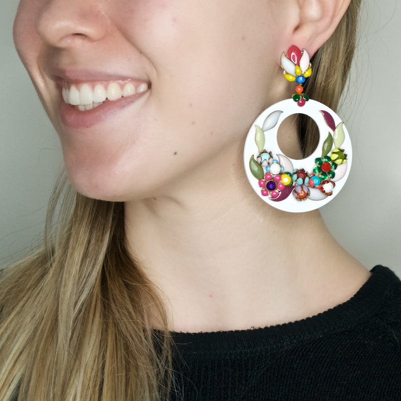 Colorful Hand Painted Floral Circle Earrings by DUBLOS