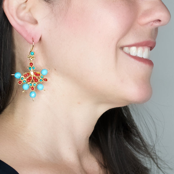 Ottoman Inspired Coral and Turquoise Earrings