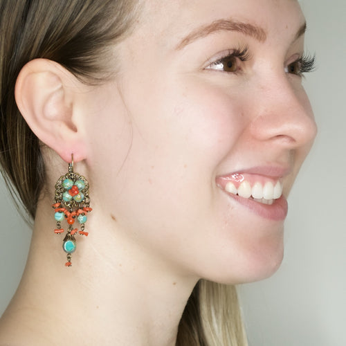 Turquoise and Coral Drop Earrings by DUBLOS